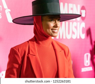 New York, NY - December 6, 2018: Alicia Keys wearing suit by Balenciaga attends Billboard's 13th Annual Women in Music gala at Pier 36