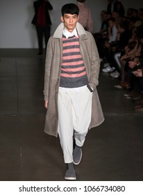 NEW YORK, NY - Feb 05, 2018: A model walks the runway at the Todd Snyder Show during New York Fashion Week Men's F/W 2018