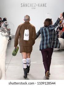 NEW YORK, NY - Feb 05, 2018: Designer Barbara Sanchez-Kane walks the runway at the Sanchez-Kane Show during New York Fashion Week Men's F/W 2018