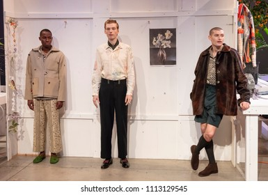 NEW YORK, NY - Feb 05, 2018: Models pose at the Bode Presentation during New York Fashion Week Men's F/W 2018