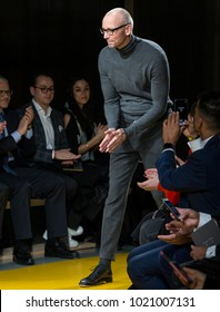 NEW YORK, NY - Feb 07, 2018: Ingo Wilts, chief brand officer for Hugo Boss walks the runway at the Boss Menswear Show during New York Fashion Week Men's F/W 2018