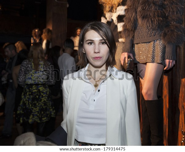 NEW YORK, NY - FEB 10, 2014: Zosia Mamet attends Enchanted... A Mid Winter Night's Dream presentation by Alice and Olivia by Stacey Bendet at New York Fall/Winter 2014 Fashion Week at McKittrick Hotel