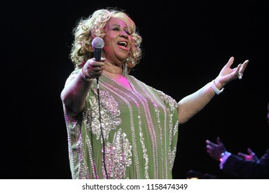 NEW YORK, NY - FEB 18, 2012: Aretha Franklin performs in concert at Radio City Music Hall on February 18, 2012, in New York.