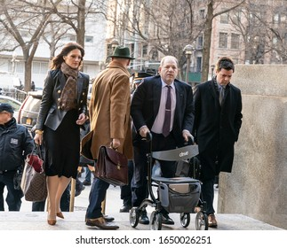 New York, NY - Feb 19, 2020: Disgraced Hollywood producer Harvey Weinstein and attorney Donna Rotunno arrive for jury deliberations on sexual assault charges at New York state supreme criminal court