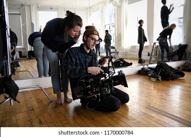 New York, NY; Feb 2018: A director and Cinematographer review a shot together