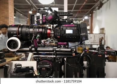 New York, NY; Feb 2018: A Black Magic Cinema camera is being prepped with a huge Canon 30-300 Lens