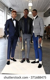 NEW YORK, NY - FEBRUARY 01: Models pose at the David Hart Presentation during New York Fashion Week Men's Fall/Winter 2016 at Industria Superstudio on February 1, 2016 in New York City.