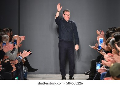 NEW YORK, NY - FEBRUARY 01: Designer Todd Snyder greets the audience after the Todd Snyder NYFW: Mens show at Skylight Clarkson North on February 1, 2017 in New York City.