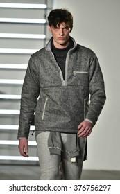 NEW YORK, NY - FEBRUARY 04: A model walks runway during the John Elliott + CO New York Fashion Week Men's Fall/Winter on February 4, 2016 in NYC.