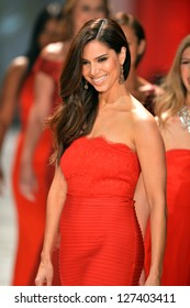 NEW YORK, NY - FEBRUARY 06: Roselyn Sanchez wearing Tadashi Shoji walks the runway at The Heart Truth's Red Dress Collection during Fall 2013 Mercedes-Benz Fashion Week on February 6, 2013, NYC
