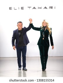 New York, NY - February 07, 2019: Elie Tahari and Christie Brinkley walk the runway at the Elie Tahari Fall Winter 2019 fashion show during New York Fashion Week