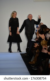 NEW YORK, NY - FEBRUARY 08: Designers Lubov and Max Azria walk the runway at the Herve Leger By Max Azria fashion show during Mercedes-Benz Fashion Week Fall 2014 on February 8, 2014 in New York City.