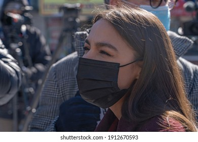 NEW YORK, NY – FEBRUARY 08: Rep. Alexandria Ocasio-Cortez (D-NY) attends a media announcement of a plan that helps families pay for funerals of COVID-19 victims on February 8, 2021 in New York City.