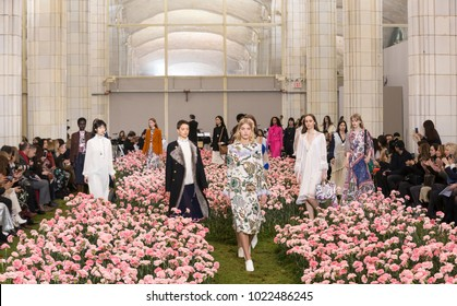 NEW YORK, NY - February 09, 2018: Models walk the runway at the Tory Burch Fall Winter 2018 fashion show during New York Fashion Week