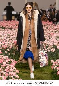 NEW YORK, NY - February 09, 2018: Lea Julian walks the runway at the Tory Burch Fall Winter 2018 fashion show during New York Fashion Week