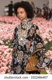 NEW YORK, NY - February 09, 2018: Aaliyah Hydes walks the runway at the Tory Burch Fall Winter 2018 fashion show during New York Fashion Week