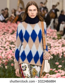 NEW YORK, NY - February 09, 2018:  Lex Herl walks the runway at the Tory Burch Fall Winter 2018 fashion show during New York Fashion Week