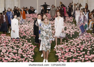 NEW YORK, NY - FEBRUARY 09: Models walk the runway finale during the Tory Burch Fall Winter 2018 Fashion Show during New York Fashion Week at Bridge Market on February 9, 2018 in New York City.