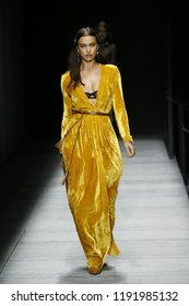NEW YORK, NY - FEBRUARY 09: Irina Shayk walks the runway at Bottega Veneta Fall/Winter 2018 Collection at the American Stock Exchange on February 9, 2018 in New York City.