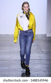 NEW YORK, NY - FEBRUARY 09: A model walks the runway for the Dirty Pineapple fashion show during New York Fashion Week: The Shows at Industria Studios on February 9, 2019 in NYC