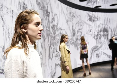 NEW YORK, NY - FEBRUARY 09: Models pose at Thakoon show during New York Fashion Week at Cedar Lake on February 9, 2017 in New York City.