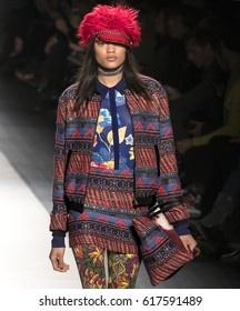 NEW YORK, NY - FEBRUARY 09, 2017: Bhumika Arora walks the runway at the Desigual Fall Winter 2017 fashion show during New York Fashion Week at Skylight Clarkson Sq