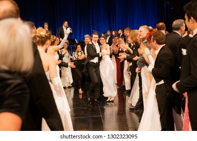 New York, NY - February 1, 2019: Midnight quadrille dance during New York 64th Viennese Opera Ball at Cipriani 42nd street