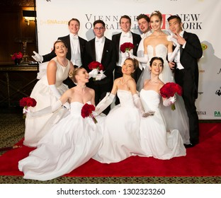 New York, NY - February 1, 2019: Debutants and escorts attend New York 64th Viennese Opera Ball at Cipriani 42nd street