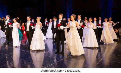 New York, NY - February 1, 2019: Debutants and escorts dance during New York 64th Viennese Opera Ball at Cipriani 42nd street