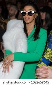 New York, NY - February 10, 2018: Cardi B attends Christian Siriano 10 years aniversary Autumn/Winter 2018 runway show at The Grand Masonic Lodge
