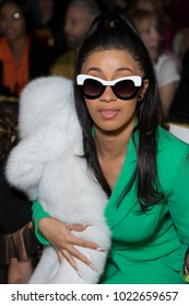 New York, NY - February 10, 2018: Cardi B attends Christian Siriano 10 years aniversary Autumn/Winter 2018 runway show at The Grand Masonic Lodge