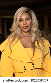 New York, NY - February 10, 2018: Laverne Cox attends Christian Siriano 10 years aniversary Autumn/Winter 2018 runway show at The Grand Masonic Lodge
