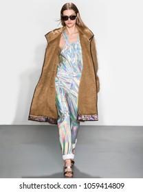 NEW YORK, NY - February 10, 2018: A model walks the runway at the Custo Barcelona Fall Winter 2018 fashion show during New York Fashion Week