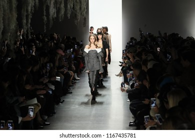 NEW YORK, NY - FEBRUARY 10: Models walk the runway finale for Jonathan Simkhai during New York Fashion Week: The Shows at Gallery I at Spring Studios on February 10, 2018 in New York City.