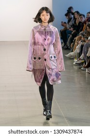 New York, NY - February 10, 2019: Model waks runway for Claudia Li collection during Fall/Winter 2019 fashion week at Spring Studios