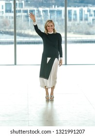 New York, NY - February 10, 2019: Designer Tory Burch walks runway for Tory Birch collection during Fall/Winter 2019 Fashion Week at Pier 17