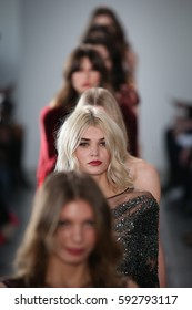 NEW YORK, NY - FEBRUARY 10: Models walk the runway finale at the Pamella Roland fashion show during New York Fashion Week on February 10, 2017 in New York City.