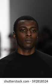 NEW YORK, NY - FEBRUARY 10: A model walks the runway for the Telfar collection during, New York Fashion Week on February 10, 2017 in New York City.