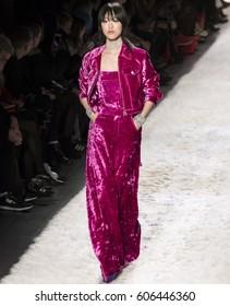 NEW YORK, NY - FEBRUARY 10, 2017: Sora Choi walks the runway at the Jeremy Scott Fall Winter 2017 fashion show during New York Fashion Week at Skylight Clarkson Sq