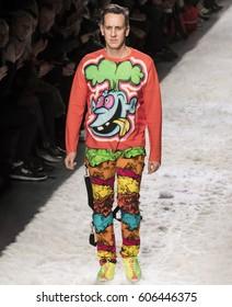 NEW YORK, NY - FEBRUARY 10, 2017: Designer Jeremy Scott walks the runway at the Jeremy Scott Fall Winter 2017 fashion show during New York Fashion Week at Skylight Clarkson Sq