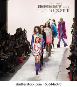 NEW YORK, NY - FEBRUARY 10, 2017: Alice Metza walks the runway at the Jeremy Scott Fall Winter 2017 fashion show during New York Fashion Week at Skylight Clarkson Sq