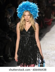 NEW YORK, NY - FEBRUARY 10, 2017: Elsa Hosk walks the runway at the Jeremy Scott Fall Winter 2017 fashion show during New York Fashion Week at Skylight Clarkson Sq