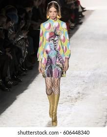 NEW YORK, NY - FEBRUARY 10, 2017: Mariana Zaragoza walks the runway at the Jeremy Scott Fall Winter 2017 fashion show during New York Fashion Week at Skylight Clarkson Sq