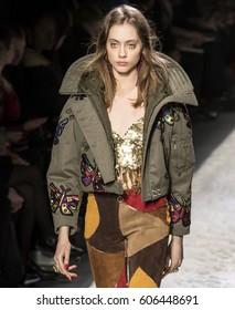 NEW YORK, NY - FEBRUARY 10, 2017: Odette Pavlova walks the runway at the Jeremy Scott Fall Winter 2017 fashion show during New York Fashion Week at Skylight Clarkson Sq