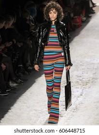 NEW YORK, NY - FEBRUARY 10, 2017: Alanna Arrington walks the runway at the Jeremy Scott Fall Winter 2017 fashion show during New York Fashion Week at Skylight Clarkson Sq