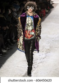 NEW YORK, NY - FEBRUARY 10, 2017: Francisco Perez walks the runway at the Jeremy Scott Fall Winter 2017 fashion show during New York Fashion Week at Skylight Clarkson Sq