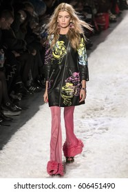 NEW YORK, NY - FEBRUARY 10, 2017: Stella Maxwell walks the runway at the Jeremy Scott Fall Winter 2017 fashion show during New York Fashion Week at Skylight Clarkson Sq