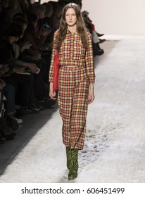 NEW YORK, NY - FEBRUARY 10, 2017: Jay Wright walks the runway at the Jeremy Scott Fall Winter 2017 fashion show during New York Fashion Week at Skylight Clarkson Sq