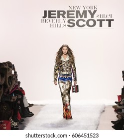 NEW YORK, NY - FEBRUARY 10, 2017: Gigi Hadid walks the runway at the Jeremy Scott Fall Winter 2017 fashion show during New York Fashion Week at Skylight Clarkson Sq