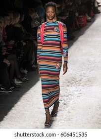 NEW YORK, NY - FEBRUARY 10, 2017: Mayowa Nicholas walks the runway at the Jeremy Scott Fall Winter 2017 fashion show during New York Fashion Week at Skylight Clarkson Sq